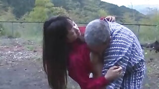 Asian Girl loves Getting Her Pussy Licked And Fucked By Old Man Cum To Ass Outdoor