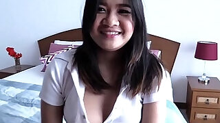 Cute Thai girl loves to suck big cock and get fucked doggy style