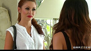 Hot Mean redhead babe sucks and fucks her big tit brunette roommate hard