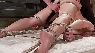 Bound and gagged bdsm gets clamped from lucky master