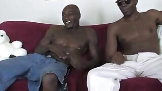 Blonde in sexy bitch with big black guys