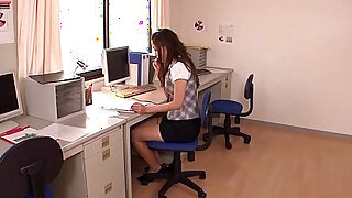 Japanese teen secretary gets toyed at work