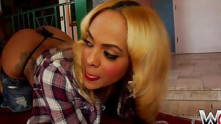 WCPClub blonde black big butt girl plays with a gorgeous ass fucked by BBC