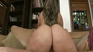 Big Booty Latina Rides a Huge White Cock