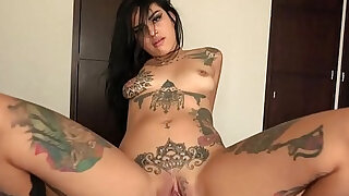 Tattooed latina chica Kat Licioux sucking big fat cock of Nacho Vidal and riding with a big pleasure shortly after