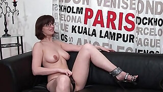 Pretty amateur busty brunette milf with big tits hard banged for her porn casting couch