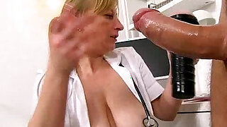 Naughty czech lady doctor Gabina gives a handjob