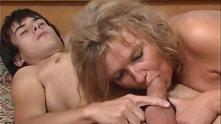 Blonde mature fucks her young boy