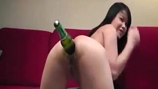 Asian Camgirl Inserting Beer Bottle In Her Ass