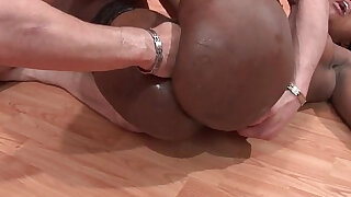 Hard anal casting pretty cock in slut in stocking facialized