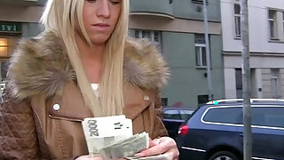 Hot blonde gets her pussy fucked doggystyle for cash and she receives a creampie