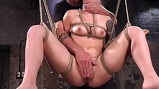 Hairy cunt slave made to intense orgasm