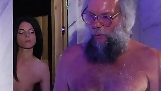 Teen Massage and Pussy session with dick grandpa super hot