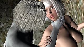 Sexy 3D cartoon blonde babe loves getting fuckced by a zombie