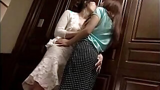 Girls Kissing Passionately At The Door